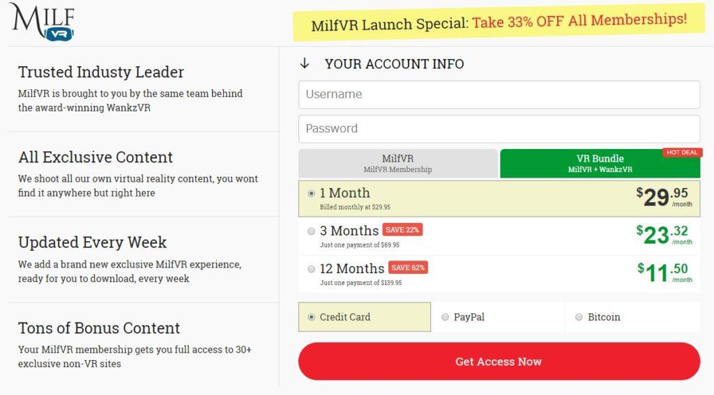 MilfVRの入会画面