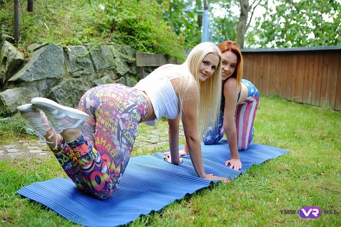 Yoga lesbians orgasm outdoors