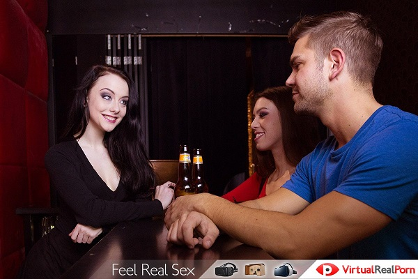Hot drinks threesome with 2 hotties in the bar