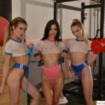 Aiden Ashley, Jazmin Luv, and Lily Larimar surprise their personal trainer with their 3 wet pussies