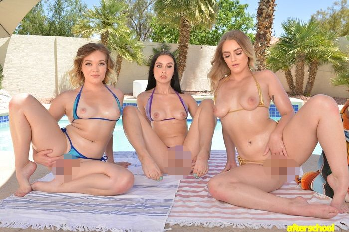 Three sexy college babes share your cock at the pool